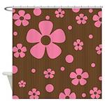 Pink Retro Flowers Shower Curtain