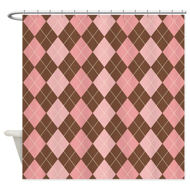 pink and brown argyle shower curtain by zandiepants