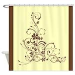 Elegant Brown Floral Shower Curtain