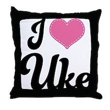 I Heart Uke Throw Pillow