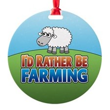 Cartoon Farmville Sheep Ornament (Round)