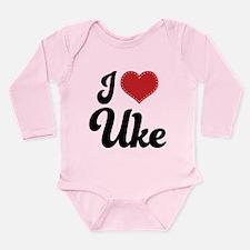 I Heart Uke Long Sleeve Infant Bodysuit