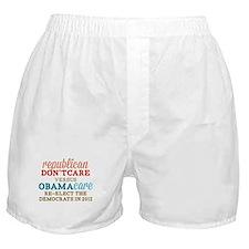 Obamacare vs Don't Care Boxer Shorts