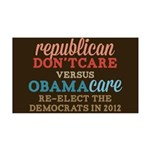 Obamacare vs Don't Care 35x21 Wall Decal