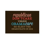 Obamacare vs Don't Care Rectangle Magnet (100 pack