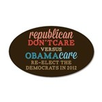 Obamacare vs Don't Care 20x12 Oval Wall Decal