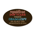 Obamacare vs Don't Care 35x21 Oval Wall Decal
