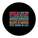 Anti Romney Believe Round Car Magnet