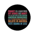 "Anti Romney Believe 3.5"" Button"