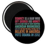 "Anti Romney Believe 2.25"" Magnet (10 pack)"