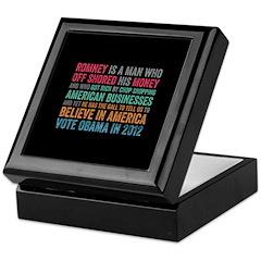 Anti Romney Believe Keepsake Box