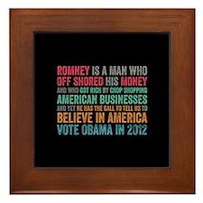 Anti Romney Believe Framed Tile