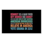 Anti Romney Believe Sticker (Rectangle 50 pk)