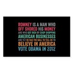 Anti Romney Believe Sticker (Rectangle 10 pk)