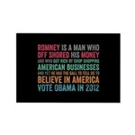 Anti Romney Believe Rectangle Magnet (100 pack)