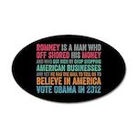 Anti Romney Believe 20x12 Oval Wall Decal