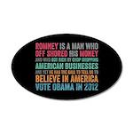 Anti Romney Believe 35x21 Oval Wall Decal