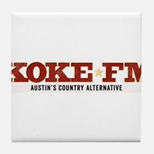 KOKE FM call letters only Tile Coaster