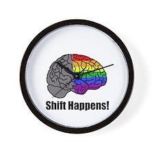 Shift Happens! Blk - Brain Wall Clock