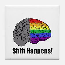 Shift Happens! Blk - Brain Tile Coaster