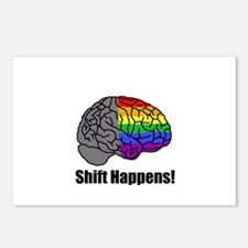 Shift Happens! Blk - Brain Postcards (Package of 8