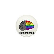 Shift Happens! Blk - Brain Mini Button (10 pack)
