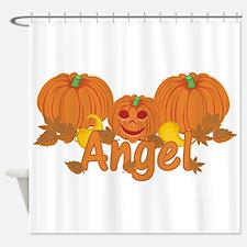Halloween Pumpkin Angel Shower Curtain