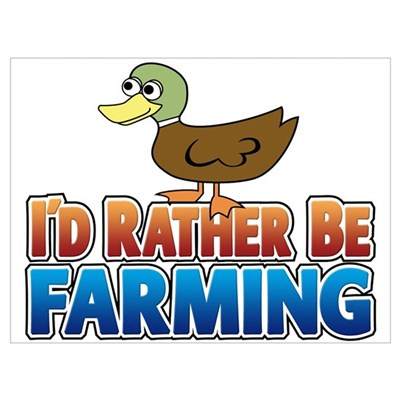 Duck: I'd rather be Farming Canvas Art