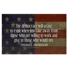 Jefferson Democracy Quote 2 Framed Print