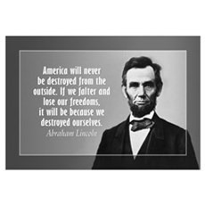 Abe Lincoln Quote on America Wall Art Framed Print