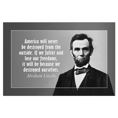 Abe Lincoln Quote on America Wall Art Poster