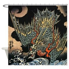 Vintage Hokusai Dragon Shower Curtain