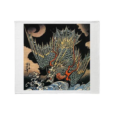 Vintage Hokusai Dragon Throw Blanket