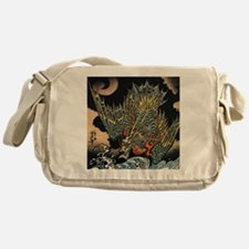 Vintage Hokusai Dragon Messenger Bag