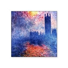 Claude Monet Parliament In London Square Sticker 3