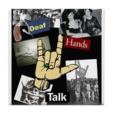 DEAF TALKIES copy.jpg Tile Coaster