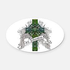 Johnston Tartan Cross Oval Car Magnet