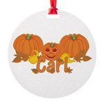 Halloween Pumpkin Carl Round Ornament