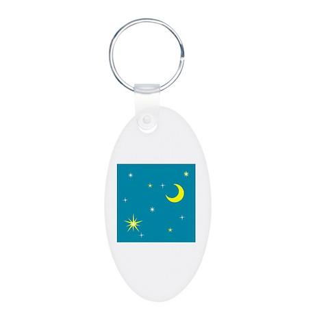 Moon Aluminum Oval Keychain
