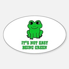 Not Easy Being Green Frog Oval Decal