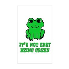 Not Easy Being Green Frog Rectangle Decal