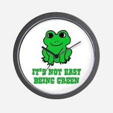 Not Easy Being Green Frog Wall Clock