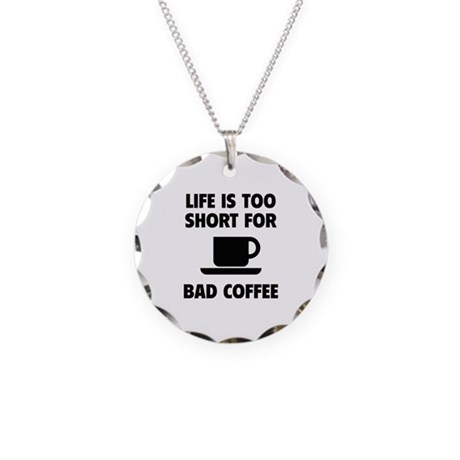 Coffee Necklace Circle Charm