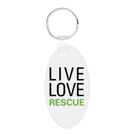 Live Love Rescue Aluminum Oval Keychain