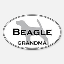 Beagle GRANDMA Oval Decal