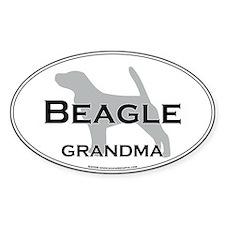 Beagle GRANDMA Oval Stickers