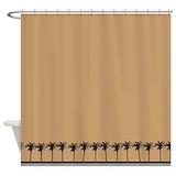 Brown palm tree beach Shower Curtains