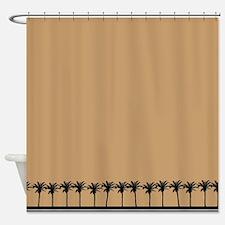 Brown Palm Tree Beach Shower Curtain