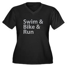 Swim & Bike & Run Women's Plus Size V-Neck Dark T-