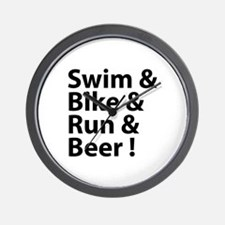 Swim & Bike & Run & Beer ! Wall Clock